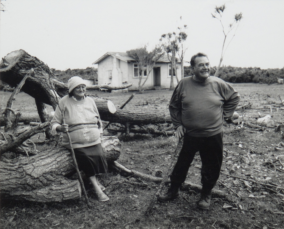 NZ scene, Maori couple on farmland, black and white silver-gelatine photographic print, photographer unknown, date unknown circa 1980s, location unknown