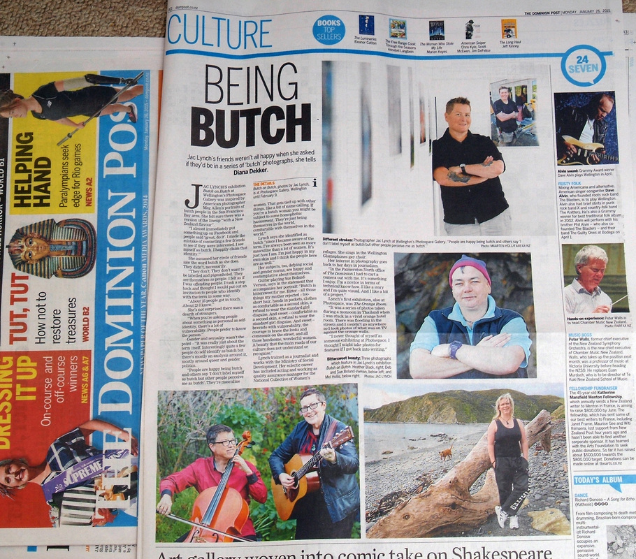Dominion Post article 26th Jan.2015, Jac Lynch photography exhibition, Butch on Butch, Being Butch, Photospace Gallery, Wellington New Zealand