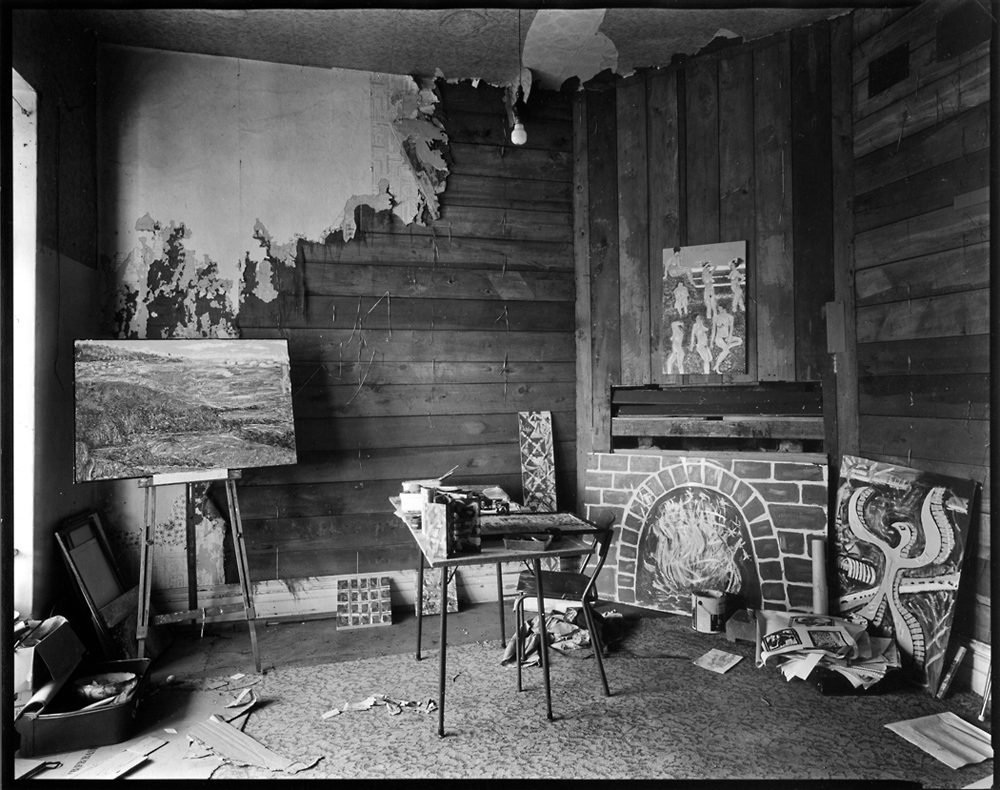 Craig Watson's studio, Otaki, 12/3/2011 photo by Andrew Ross, artist's studio interior, black and white silver gelatine, darkroom, contact print, LODIMA paper,