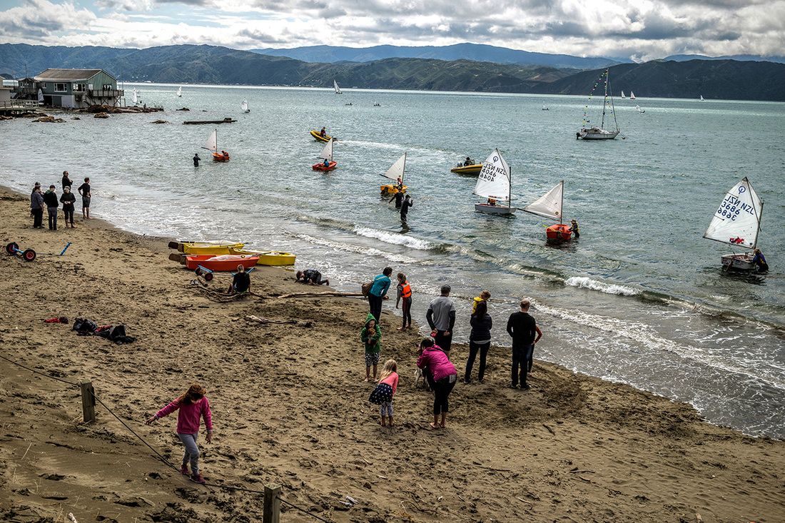 Worser Bay Beach Dwellers - photo by Alan Wylde, Photospace Gallery Wellington New Zealand