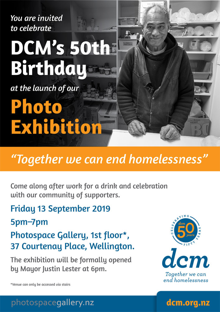 Invitation to DCM group exhibition, photos responding to homelessness in Wellington new Zealand, Photospace Gallery contemporary new Zealand photography, 37 Courtenay Place Wellington