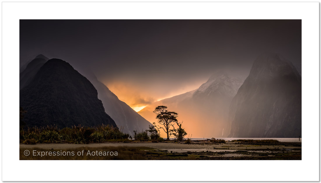 Ken Wright - 'Last of the light, Milford Sound', Expressions of Aotearoa - New Zealand landscape photography exhibition, Photospace Gallery 37 Courtenay Place Wellington Aotearoa NZ April 2021