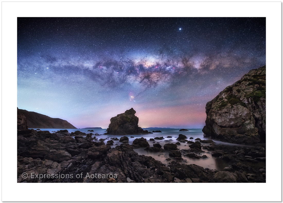 Mark Gee - 'Pukerua Bay Milky Way', Expressions of Aotearoa - New Zealand landscape photography exhibition, Photospace Gallery 37 Courtenay Place Wellington Aotearoa NZ April 2021, new Zealand astrophotography