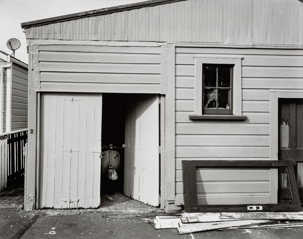 Andrew Ross - Painted the garage doors (yellow) March 2020, what Ive done in the lockdown, silver gelatin large format photography, photography during the covid-19 lockdown in New Zealnd, Photospace Gallery contemporary New Zealand photography wellington nz, a month of sundays online exhibition, Levin Horowhenua during Covid-19 lockdown Alert Level 4