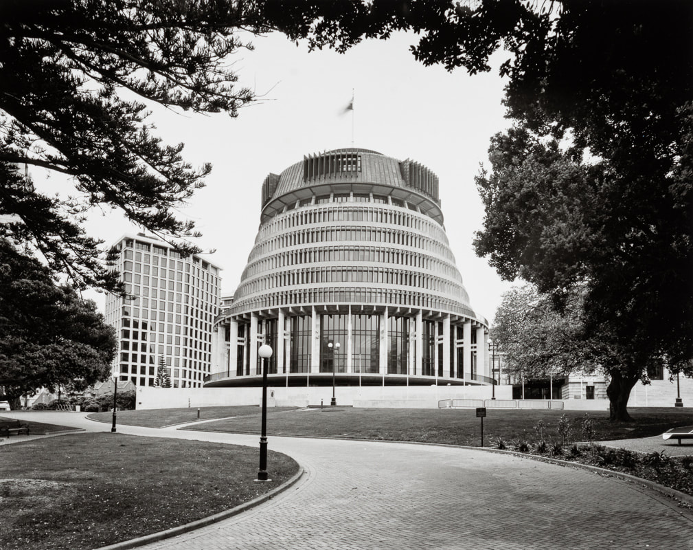 Andrew Ross photograph of the Beehive Parliament Grounds Wellington New Zealand March 2020, what Ive done in the lockdown, silver gelatin large format photography, photography during the covid-19 lockdown in New Zealnd, Photospace Gallery contemporary New Zealand photography wellington nz, a month of sundays online exhibition, Levin Horowhenua during Covid-19 lockdown Alert Level 4