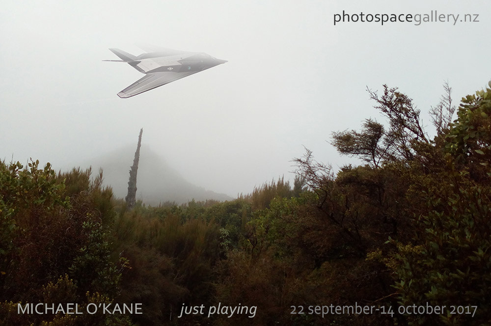 Michael O'Kane, exhibition poster for 'just playing' photo exhibition, Photospace Gallery fine art photography, toys Photoshopped into new Zealand landscapes, model trains planes aircraft cars in New Zealand landscape scenes
