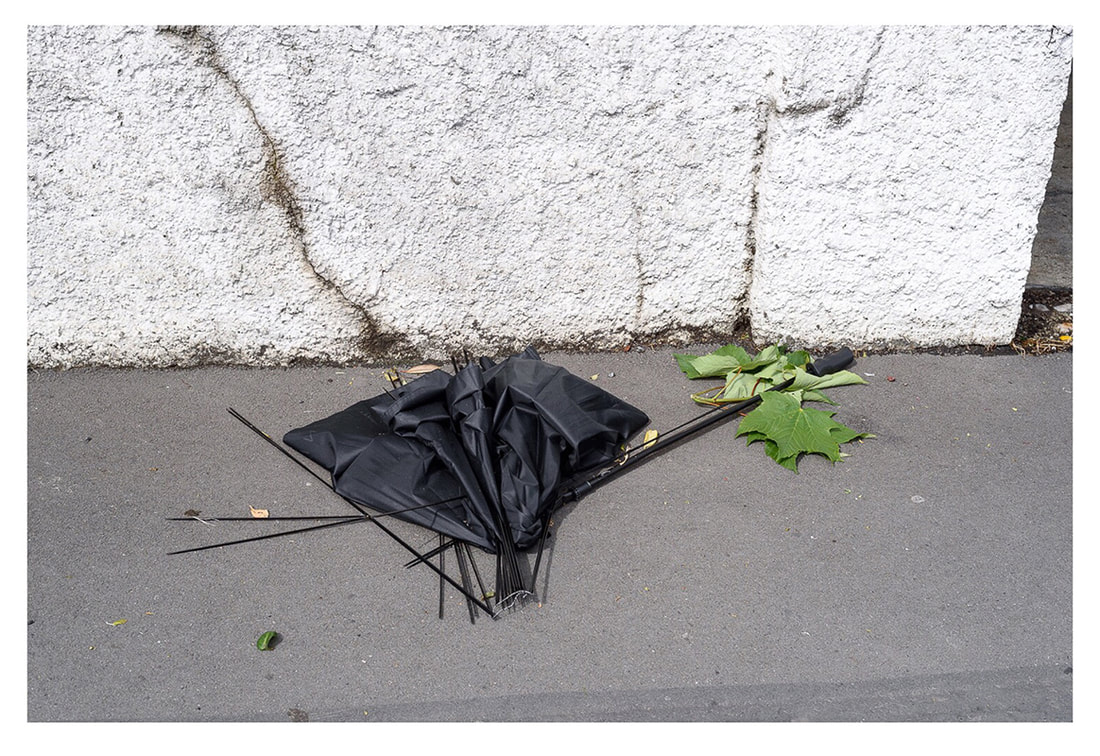 Peter Black - untitled 14, April 2020, A Month of Sundays - Responses to the Covid-19 Lockdown' online exhibition at PhotospaceGallery.nz, photography during covid-19 lockdown in New Zealand, dead umbrella