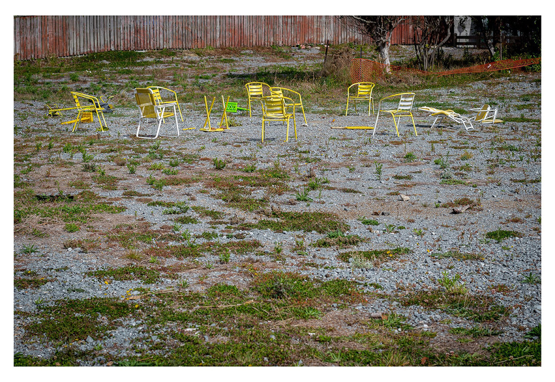 Peter Black - untitled 6, April 2020,  'A Month of Sundays - Responses to the Covid-19 Lockdown' online exhibition at PhotospaceGallery.nz, chairs on wasteland, photography during covid-19 lockdown in New Zealand