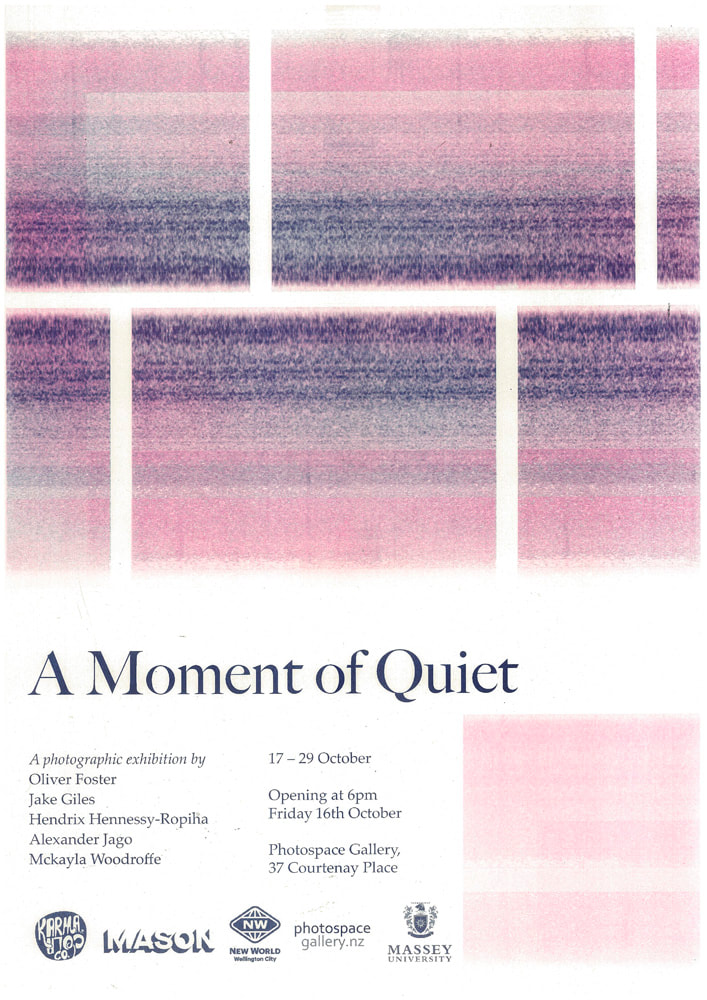 'A Moment of Quiet' - is a group photographic exhibition by graduate students of Massey University's photography degree programme; Alexander Jago, Hendrix Hennessy-Ropiha, Jake Giles, Mckayla Woodroffe, Oliver Foster., Photospace Gallery contemporary New Zealand photography, photography in Aotearoa New Zealand