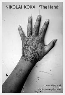 Nikolao Kokx, The Hand exhibition at Photospace Gallery Wellington NZ, fake tattoos, biro tattoo, tattooed hands, art photography, black and white photography