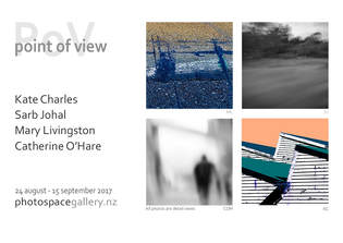 Point of View poster; Kate Charles, Sarb Johal, Mary Livingston, Catherine O'Hare, group exhibition of photography, Photospace Gallery contemporary New Zealand Photography