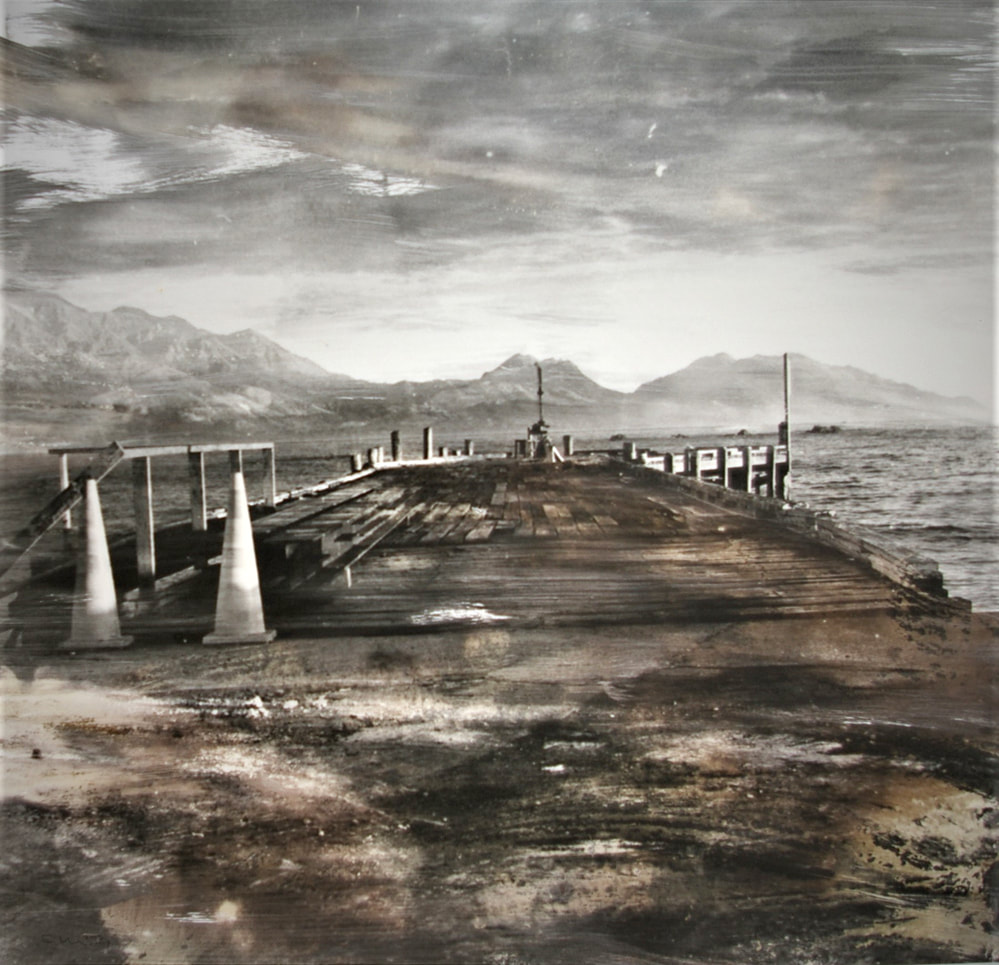 'Wharf' (cyanotype) - Susie Baker, 2016 Kaikoura earthquake,alternative process, cyanotype, chemigram, Photospace Gallery contemporary New Zealand photography exhibition